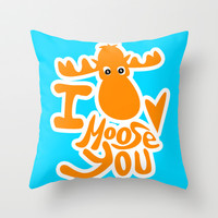 I moose you Throw Pillow by EllipsisArts