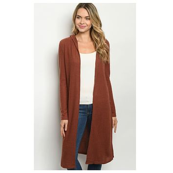 Cozy Long Brick Hooded Cardigan