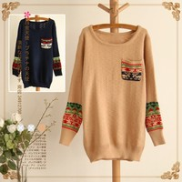 Pocket sleeve head pattern round neck sweater-EMS