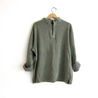 Vintage oversized pullover. army green pigment dyed sweatshirt. pullover