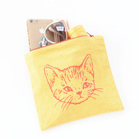Cute Kitty Zip Pouch - YELLOW