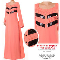 Black Sequin Trims Pleated Abaya Islamic Long Sleeves Maxi Dress Size S/M - 4505 Coral Pink