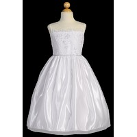 Corded Embroidered Tulle Girls Plus Size Communion Dress 10x-16x
