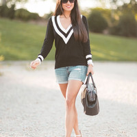 Black V Neck Striped Trim Knitted Sweater