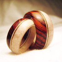 His & Hers Antler and Wood Rings - Cocobolo Wood and Deer Antler Rings