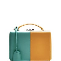 M'O Exclusive: Small Grace Trunk Two-Tone In Marigold And Turquoise Calf Leather by Mark Cross - Moda Operandi