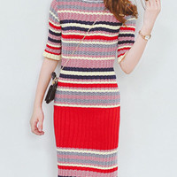 Red Color Block Half Sleeve Knitted Bodycon Dress