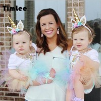 Timlee H021 Cute Animal Unicorn Hair Band Children's Flower Gauze Headband Hair Accessary Gift