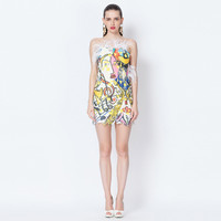 Casual Printed Off Shoulder Feather Asymmetric Mini Dress