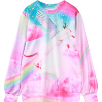 Multicolor Flying Cat Round Neck Sweatshirt