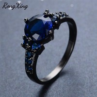 RongXing Charming Round Blue Promise Band Ring Men Women Vintage Jewelry Black Gold Filled Wedding Engagement Rings Bague RB0065