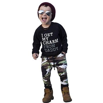 Boys Camo Pant Sweatshirt Set I Get My Charm From My Daddy