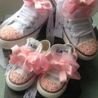 """Mommy and Me """"Bling"""" high/low top converse in your choice of color, stone & ribbon shoelace to match."""