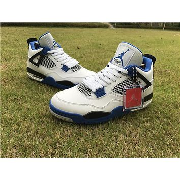 "Air Jordan 4 Retro ""Motorsport"" white blue Basketball Shoes 41-47"