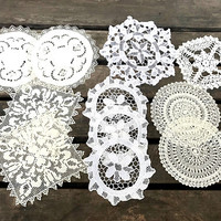 Set of 11 Small Vintage Doilies, Mismatched Round Crocheted Doilies for Coasters, Wedding Decor, Crafts, circa 1950s-1960s