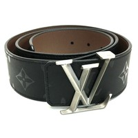 AUTHENTIC LOUIS VUITTON Ceinture Initial Pyramid LV Men's Belt Black M9346