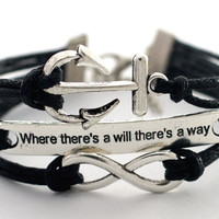 """Infinity Anchor """"where there's a will there's way"""" Antique Silver Black Bracelet Cute Bracelet Gift Bracelet Blessing Bracelet"""