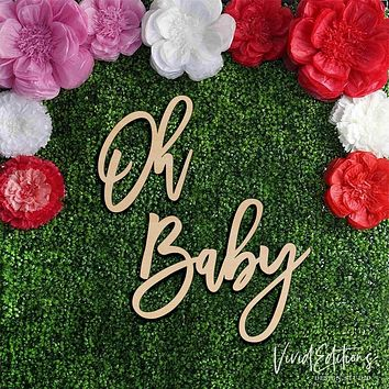 "36"" wide 'Oh Baby' X-Large Baby Shower Backdrop Sign, Wood or Acrylic"