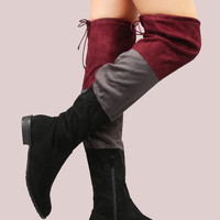 Black Colorblock Faux Suede High Boot