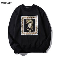 Versace New fashion dragon print couple long sleeve top sweater Black
