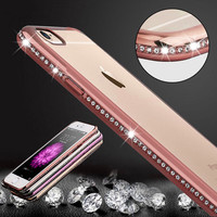 Luxury Bling Diamond Frame with Transparent Back iPhone Case- 6/6plus