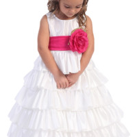 (Sale) White Taffeta Blossom Flower Girl Dress with 5 Tiers of Ruffles (Girls 12 months - Size 12 & Plus Sizes)