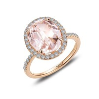Oval Simulated Morganite and Rose Gold Bonded Sterling Silver Halo Ring