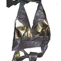 Zebra,Platinum Gold Leather Halter Top is Stunning
