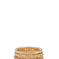 FOREVER 21 Stackable Rhinestone Ring Set Gold/Clear
