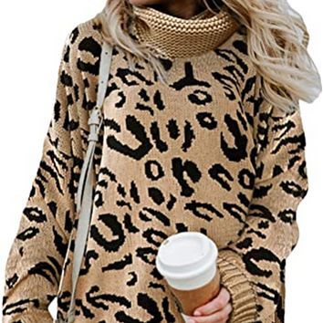 Ladies hot sale split leopard print two lapel pullover sweater