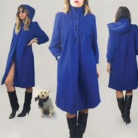 Vintage 1960's 1970's FRENCH Persian Blue Wool Hooded Coat    Made In Paris    Size XS Small    Size 2 to 4