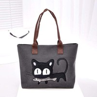Women Canvas Bag Cat with Fish
