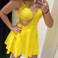 Lace Hollow Mini Dress