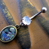 Abalone Frame Belly Button Jewelry Ring Piercing Rainbow Opal Navel Bar Barbell