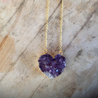 14K Gold Or Silver Amethyst Heart Double Bail Necklace