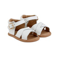 BABE BASICS WHITE SPLIT-SOLED LEATHER BABY SANDALS