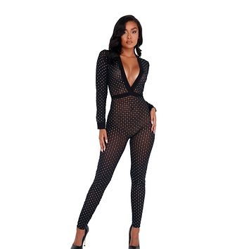 Women's Sheer Glittered Bodysuit with Cuffs