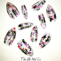 24 Hand painted press on stiletto nails