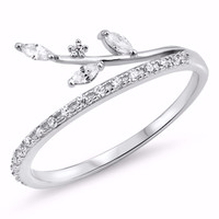Sterling Silver CZ Simulated Diamond Vines Ring 9MM