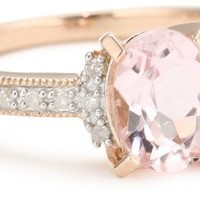 Rose Gold Flashed Silver Morganite and Diamond Ring, (.07 Cttw, G-H Color, I2-I3 Clarity), Size 7
