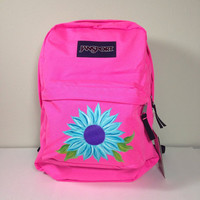 Pink JanSport SuperBreak Backpack with Hand Painted Daisy