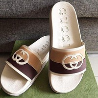 GUCCI GG double G color-block striped slippers shoes