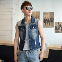 Hotselling Men korean slim waistcoat jeans casual vest male denim sleeveless jacket autumn tops clothes WM0008 salebags