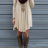 Follow Your Heart Beige V-Neck Long Sleeve Dress