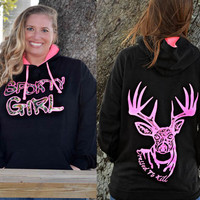 Black hoodie with neon pink glitter and Sporty Girl apparel Camo