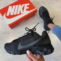 "Nike React Element 55 ""Triple Black"" Sneakers"