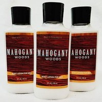 3 PACK Bath & Body Works MAHOGANY WOODS FOR MEN Body Lotion 8 oz