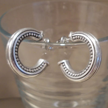 Vintage 70's Heavy Silver Designed Post Open End Hoop Earrings w/ Safety Backings, Fashion Jewelry, Bold, Statement, Simple, Elegant, Gift