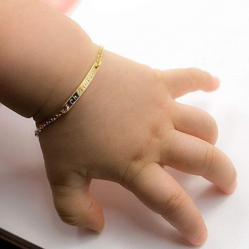 """4"""" Chain Baby Name Bar ID Bracelet Gold Hand Chain Stainless Steel Custom Engraved Nameplate Personalized Initial Children Gift"""