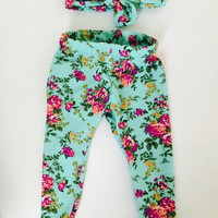 Spring summer legging set for baby girls or toddler! Teal with flowers